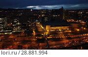 Купить «Barcelona cityscape in evening with a modern apartment buildings, Spain», видеоролик № 28881994, снято 23 марта 2018 г. (c) Яков Филимонов / Фотобанк Лори