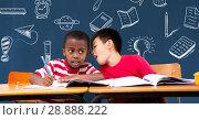 Купить «School boys at desk and Education drawing on blackboard for school», фото № 28888222, снято 20 мая 2019 г. (c) Wavebreak Media / Фотобанк Лори