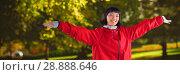 Купить «Composite image of smiling woman standing with arms outstretched», фото № 28888646, снято 16 августа 2018 г. (c) Wavebreak Media / Фотобанк Лори