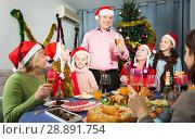 Купить «Big family celebrating New Year», фото № 28891754, снято 28 декабря 2017 г. (c) Яков Филимонов / Фотобанк Лори