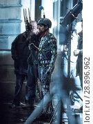 Купить «Film crew and stuntmen prepare for the filming of the upcoming movie 'Avengers: Infinity War' on the Royal Mile in Edinburgh Featuring: Stuntman Where...», фото № 28896962, снято 31 марта 2017 г. (c) age Fotostock / Фотобанк Лори