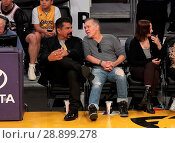 Купить «Celebrities watch the Los Angeles Lakers Featuring: George Lopez, Eddie Van Halen Where: Los Angeles, California, United States When: 02 Apr 2017 Credit: WENN.com», фото № 28899278, снято 2 апреля 2017 г. (c) age Fotostock / Фотобанк Лори