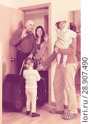 Купить «Family coming to grandmother home», фото № 28907490, снято 19 января 2014 г. (c) Яков Филимонов / Фотобанк Лори