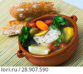 Купить «Fisherman soup with vegetables», фото № 28907590, снято 23 апреля 2019 г. (c) Яков Филимонов / Фотобанк Лори