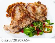 Купить «Grilled pork meat with lentils, cornsalad and red currant», фото № 28907654, снято 22 сентября 2018 г. (c) Яков Филимонов / Фотобанк Лори