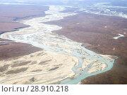 Купить «United States, Alaska, Arctic National Wildlife Refuge, North Slope Borough, aerial view with the Sagavanirktok River or Sag River.», фото № 28910218, снято 21 сентября 2016 г. (c) age Fotostock / Фотобанк Лори