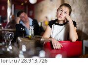 Купить «Girl upset because her boyfriend drunk too much», фото № 28913726, снято 18 декабря 2017 г. (c) Яков Филимонов / Фотобанк Лори