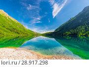Купить «Beautiful lake, located in the mountains of the Tatra Morskoe Oko, Poland», фото № 28917298, снято 18 августа 2017 г. (c) Константин Лабунский / Фотобанк Лори