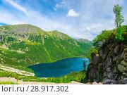 Купить «view from the altitude to the lake Morskie Oko in the Tatra mountains on a summer sunny day», фото № 28917302, снято 18 августа 2017 г. (c) Константин Лабунский / Фотобанк Лори