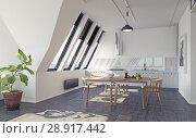 Купить «modern loft kitchen interior», фото № 28917442, снято 15 августа 2018 г. (c) Виктор Застольский / Фотобанк Лори