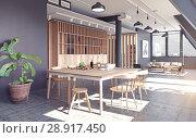 Купить «modern loft apartment interior», фото № 28917450, снято 15 августа 2018 г. (c) Виктор Застольский / Фотобанк Лори