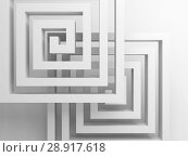 Купить «Abstract square spirals over white, 3 d», иллюстрация № 28917618 (c) EugeneSergeev / Фотобанк Лори