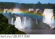 Купить «Waterfall Cataratas del Iguazu on Iguazu River, Brazil», фото № 28917930, снято 17 февраля 2017 г. (c) Яков Филимонов / Фотобанк Лори