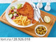 Купить «Fried Flounder served with greek salad», фото № 28926018, снято 30 июля 2018 г. (c) Oksana Zh / Фотобанк Лори