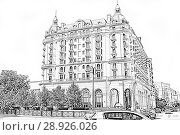 Купить «Residential house in the Gothic style at the crossroads in the center of Baku. Republic of Azerbaijan», иллюстрация № 28926026 (c) Евгений Ткачёв / Фотобанк Лори