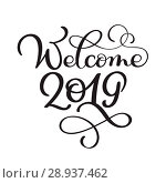 Купить «Welcome 2019 year. Handwritten numbers on banner. Label vector illustration on a white background, modern brush calligraphy», иллюстрация № 28937462 (c) Happy Letters / Фотобанк Лори