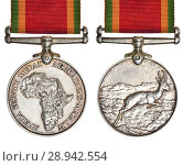 Купить «The Africa Service Medal: South African campaign medal for service during the Second World War, awarded to members of the Union Defence Forces, the South...», фото № 28942554, снято 12 июля 2018 г. (c) age Fotostock / Фотобанк Лори