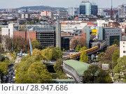 Berlin, Germany, subway train line U1 and subway station Moeckernbruecke in Kreuzberg (2017 год). Редакционное фото, агентство Caro Photoagency / Фотобанк Лори