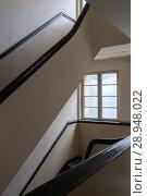 Купить «Berlin, Germany, Staircase in an industrial building in Wilhelminenhofstrasse in Berlin-Oberschoeneweide», фото № 28948022, снято 15 июля 2017 г. (c) Caro Photoagency / Фотобанк Лори
