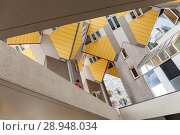 Купить «Rotterdam, Netherlands, Kubushaus, after a design by architect Piet Blom in Rotterdam», фото № 28948034, снято 23 июля 2017 г. (c) Caro Photoagency / Фотобанк Лори
