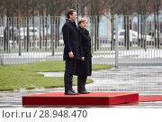 Berlin, Germany - German Chancellor Angela Merkel welcomes the Austrian Federal Chancellor Sebastian Kurz (2018 год). Редакционное фото, агентство Caro Photoagency / Фотобанк Лори