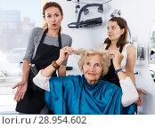 Купить «Shocked elderly female client at barbershop», фото № 28954602, снято 26 июня 2018 г. (c) Яков Филимонов / Фотобанк Лори