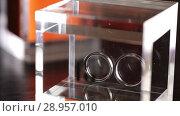 Купить «Silver Wedding Rings in the glass box macro closeup shoot diamon Jewellery», видеоролик № 28957010, снято 9 августа 2018 г. (c) Aleksejs Bergmanis / Фотобанк Лори