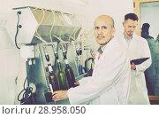 Купить «Man employee testing bottling equipment on facility», фото № 28958050, снято 16 августа 2018 г. (c) Яков Филимонов / Фотобанк Лори