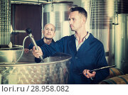 Купить «young man expert in winery», фото № 28958082, снято 16 августа 2018 г. (c) Яков Филимонов / Фотобанк Лори