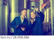 Купить «Two employees with wine sample at winery», фото № 28958086, снято 20 октября 2018 г. (c) Яков Филимонов / Фотобанк Лори