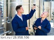 Купить «Two winemakers looking at wine sample in glass», фото № 28958106, снято 20 августа 2018 г. (c) Яков Филимонов / Фотобанк Лори
