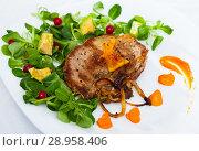 Купить «Roasted pork steak with pumpkin puree and salad», фото № 28958406, снято 18 июня 2019 г. (c) Яков Филимонов / Фотобанк Лори