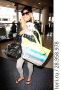 Купить «Heather Locklear at Los Angeles International Airport (LAX) with her little dog Featuring: Heather Locklear Where: Los Angeles, California, United States When: 19 Apr 2017 Credit: WENN.com», фото № 28958978, снято 19 апреля 2017 г. (c) age Fotostock / Фотобанк Лори