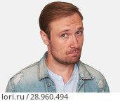 Купить «Portrait of casual handsome man in denim jacket», фото № 28960494, снято 25 июля 2018 г. (c) Александр Лычагин / Фотобанк Лори