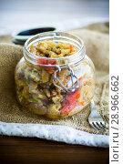 Купить «A warm salad of baked eggplant and peppers with cherry tomatoes», фото № 28966662, снято 14 августа 2018 г. (c) Peredniankina / Фотобанк Лори