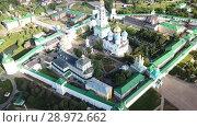 Купить «View from drones of churches in Trinity Lavra of St. Sergius Monastery, Sergiyev Posad», видеоролик № 28972662, снято 28 июня 2018 г. (c) Яков Филимонов / Фотобанк Лори