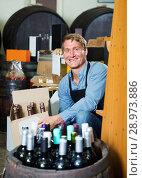 Купить «Man seller wearing apron having package box with wine bottles», фото № 28973886, снято 20 мая 2019 г. (c) Яков Филимонов / Фотобанк Лори