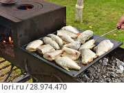 Купить «Рыба жарится на протвине», эксклюзивное фото № 28974470, снято 30 июля 2018 г. (c) Юрий Морозов / Фотобанк Лори