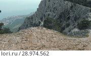 Купить «Woman raises hands in mountains», видеоролик № 28974562, снято 19 июля 2018 г. (c) Илья Шаматура / Фотобанк Лори