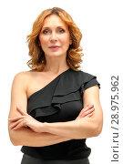 Beautiful adult woman model at white background. Стоковое фото, фотограф Маргарита Бородина / Фотобанк Лори