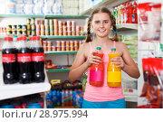 Купить «Tweenage girl buying food in supermarket», фото № 28975994, снято 4 июля 2018 г. (c) Яков Филимонов / Фотобанк Лори