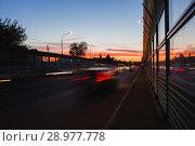 Summer landscape with highway and tracks from car headlights. Стоковое фото, фотограф Чебеляев Геннадий / Фотобанк Лори