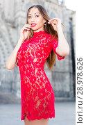 Купить «close-up portrait of young slim adult girl in sexy evening apparel», фото № 28978626, снято 24 июня 2017 г. (c) Яков Филимонов / Фотобанк Лори