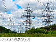 Купить «Линия электропередачи», эксклюзивное фото № 28978938, снято 15 июля 2017 г. (c) Александр Щепин / Фотобанк Лори