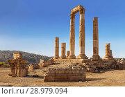 Руины храма Геркулеса в Аммане, древняя крепость на фоне городского пейзажа, Иордания (2016 год). Стоковое фото, фотограф Наталья Волкова / Фотобанк Лори