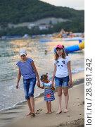 Купить «Children bathe in the sea», фото № 28981242, снято 6 июля 2018 г. (c) Типляшина Евгения / Фотобанк Лори