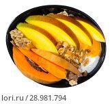 Купить «Breakfast with pumpkin and mango.», фото № 28981794, снято 20 сентября 2018 г. (c) Яков Филимонов / Фотобанк Лори