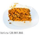 Купить «Slice of carrot cake», фото № 28981866, снято 24 июня 2018 г. (c) Яков Филимонов / Фотобанк Лори