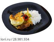 Купить «Breaded cabbage with sauces and rice on black dish», фото № 28981934, снято 19 января 2019 г. (c) Яков Филимонов / Фотобанк Лори