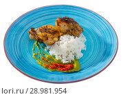 Купить «Fried chicken thighs with rice», фото № 28981954, снято 19 июля 2019 г. (c) Яков Филимонов / Фотобанк Лори